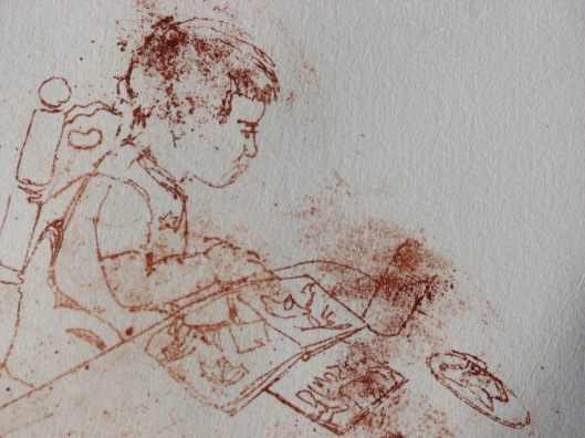 burnt umber print, M at the table sketch